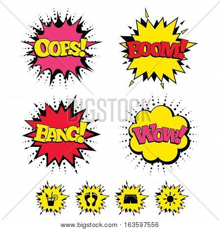 Comic Boom, Wow, Oops sound effects. Beach holidays icons. Cocktail, human footprints and swimming trunks signs. Summer sun symbol. Speech bubbles in pop art. Vector