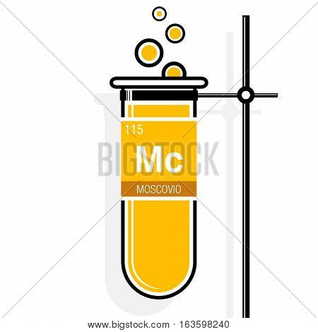 Moscovio symbol - Moscovium in Spanish language - on label in a yellow test tube with holder. Element number 115 of the Periodic Table of the Elements - Chemistry