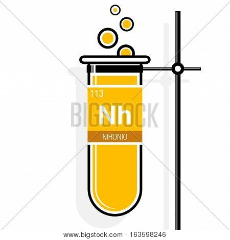 Nihonio symbol - Nihonium in Spanish language - on label in a yellow test tube with holder. Element number 113 of the Periodic Table of the Elements - Chemistry
