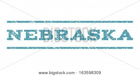 Nebraska watermark stamp. Text tag between horizontal parallel lines with grunge design style. Rubber seal stamp with dust texture. Vector cyan color ink imprint on a white background.