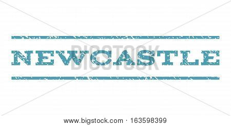 Newcastle watermark stamp. Text tag between horizontal parallel lines with grunge design style. Rubber seal stamp with scratched texture. Vector cyan color ink imprint on a white background.