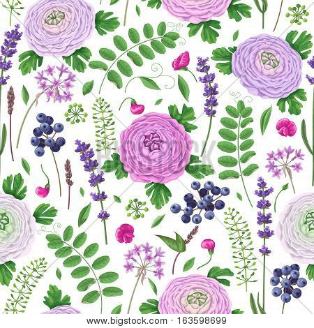 Seamless pattern made with buttercup flowers green leaves blue berries and lavender.