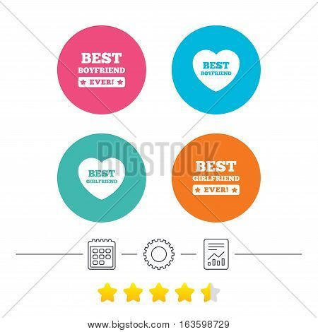 Best boyfriend and girlfriend icons. Heart love signs. Award symbol. Calendar, cogwheel and report linear icons. Star vote ranking. Vector