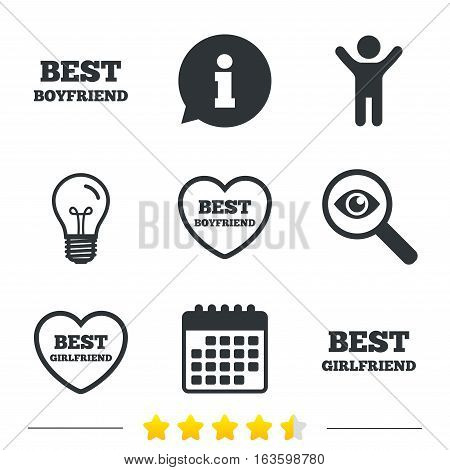 Best boyfriend and girlfriend icons. Heart love signs. Award symbol. Information, light bulb and calendar icons. Investigate magnifier. Vector