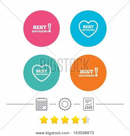 Best boyfriend and girlfriend icons. Heart love signs. Awards with exclamation symbol. Calendar, cogwheel and report linear icons. Star vote ranking. Vector