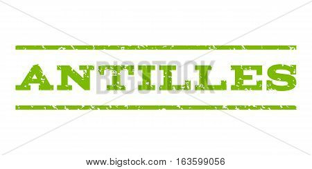 Antilles watermark stamp. Text tag between horizontal parallel lines with grunge design style. Rubber seal stamp with dust texture. Vector eco green color ink imprint on a white background.