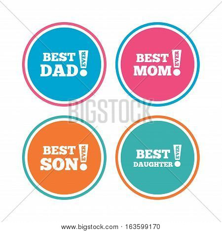 Best mom and dad, son and daughter icons. Awards with exclamation mark symbols. Colored circle buttons. Vector