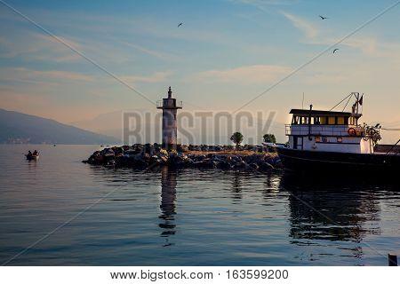Lighthouse in Marmara Sea, Narli, Gemlik, Bursa, Turkey