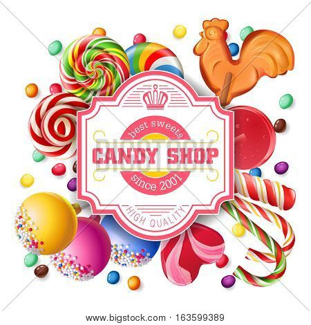 Vector illustration background of sweet candy, sweetmeats, lollipops. Frame made of sweets.