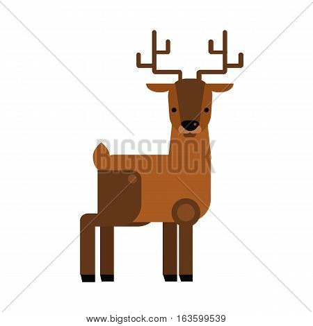 Wild cartoon deer animal flat vector silhouette wild symbol. North life animals silhouette. Vector zoo farm environment mammal isolated on white.