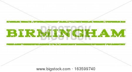 Birmingham watermark stamp. Text caption between horizontal parallel lines with grunge design style. Rubber seal stamp with scratched texture. Vector eco green color ink imprint on a white background.