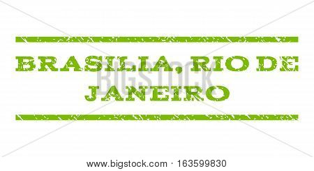 Brasilia, Rio De Janeiro watermark stamp. Text caption between horizontal parallel lines with grunge design style. Rubber seal stamp with dust texture.