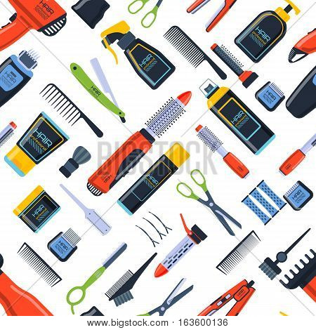 Barber shop seamless vector pattern. Beauty hairdresser salon flat icon background. Professional scissors stylist equipment. Fabric accessories wallpaper.