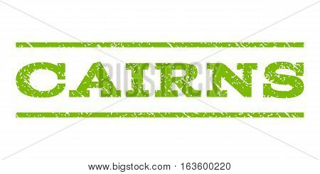 Cairns watermark stamp. Text tag between horizontal parallel lines with grunge design style. Rubber seal stamp with scratched texture. Vector eco green color ink imprint on a white background.