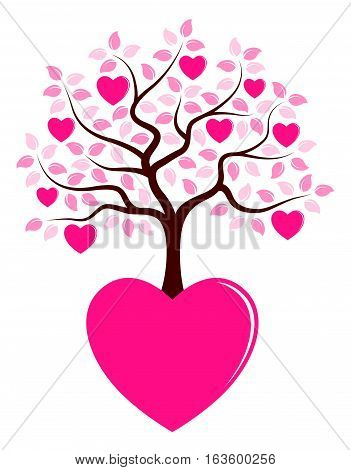 vector heart tree growing from heart isolated on white background