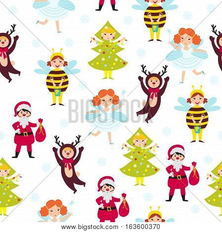 Carnival kids seamless pattern vector. Anniversary decorative fun children wallpaper. Decorated new year happy character background. Retro costume snowflake greeting card texture.