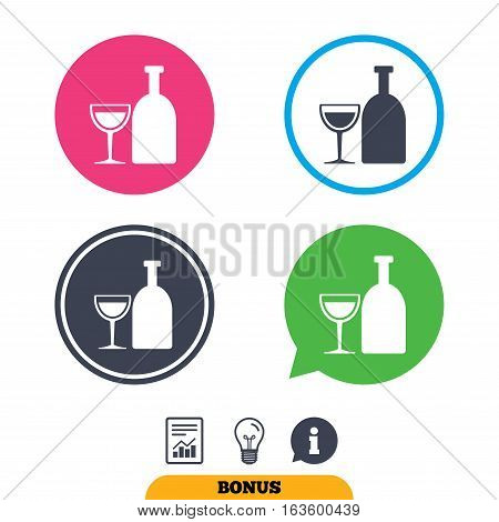 Alcohol sign icon. Drink symbol. Bottle with glass. Report document, information sign and light bulb icons. Vector