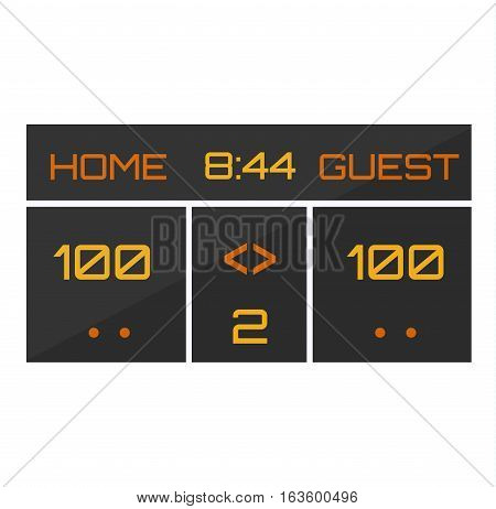 Basketball led information color electronic sign. Scoreboard vector illustration. Arena clock field goal match equipment result text. Timer panel template.