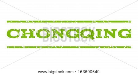 Chongqing watermark stamp. Text caption between horizontal parallel lines with grunge design style. Rubber seal stamp with unclean texture. Vector eco green color ink imprint on a white background.