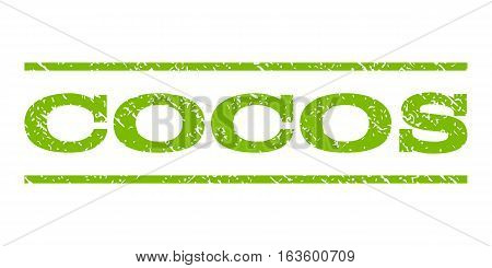 Cocos watermark stamp. Text tag between horizontal parallel lines with grunge design style. Rubber seal stamp with dirty texture. Vector eco green color ink imprint on a white background.