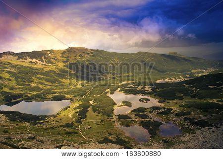 Mountain lakes in Gasienicowa Valley. Tatra Mountains. Poland Zakopane. -
