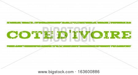 Cote D'Ivoire watermark stamp. Text tag between horizontal parallel lines with grunge design style. Rubber seal stamp with unclean texture. Vector eco green color ink imprint on a white background.