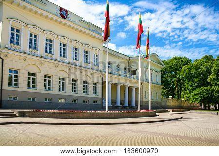 Vilnius Lithuania - June 17: Exterior of the Presidential palace in Vilnius city on June 17 2006. Vilnius Lithuania.