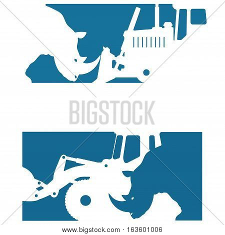 vector illustration consisting of two images showing the silhouette of a rhinoceros and a bulldozer