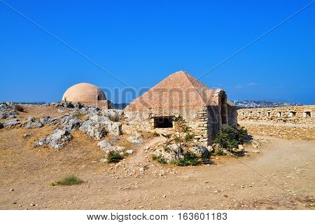 Rethymno city Greece Fortezza fortress building with pyramidal roof landmark architecture