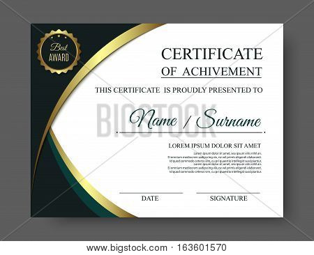 Gold luxury certificate of achivement template with golden award. Vector eps10
