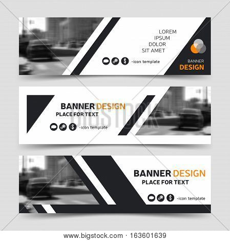 Set of three modern horizontal business banner templates. Website corporate identity header design white and gray technology background layouts eps10