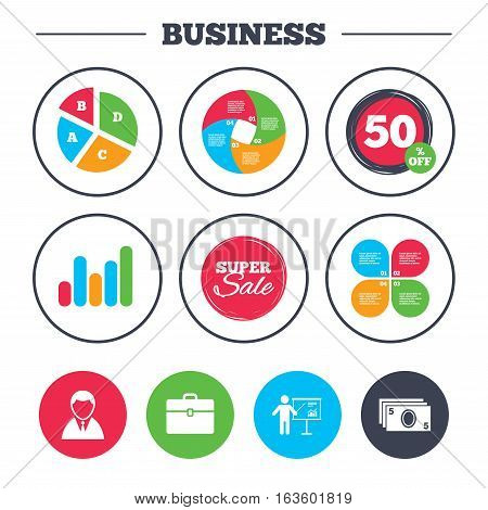 Business pie chart. Growth graph. Businessman icons. Human silhouette and cash money signs. Case and presentation with chart symbols. Super sale and discount buttons. Vector