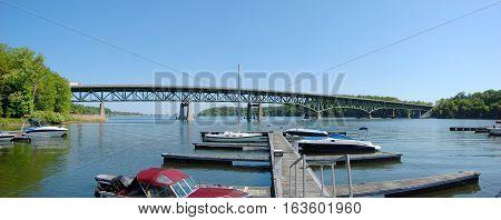 Irondequoit Bay Bridge span Irondequoit Bay in Irondequoit, Monroe County, New York State, USA.