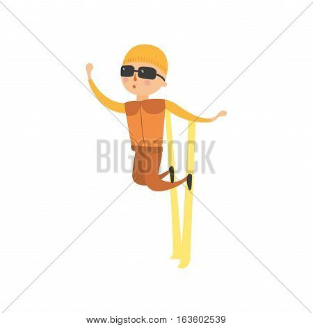 Skiing human trick vector illustration. Downhill dangerous guy season extreme sport. Young fast character fun speed action. Jumper athlete activity.