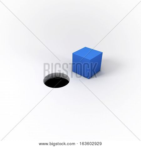 A blue square peg and a round hole on a bright white background. A visual representation of the idiom