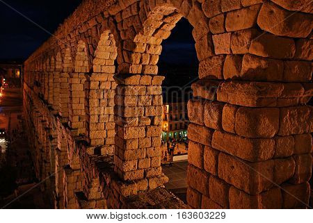 Night view of the roman aqueduct of Segovia. Spain