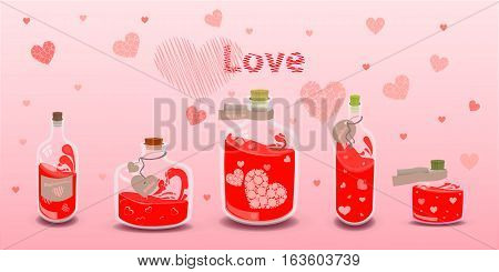 Five Elixir Of Love With Labels. Illustration