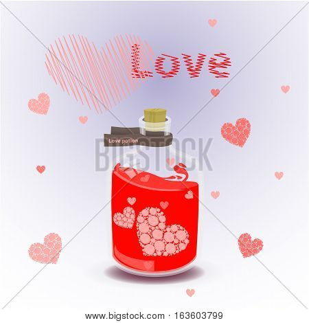 Red Elixir Of Love. Illustration On Isolated Background