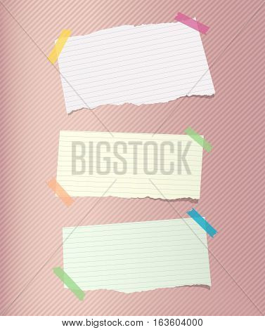 Colorful note, notebook, copybook paper sheets stuck with sticky tape on striped pattern.