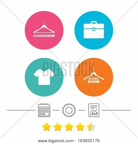 Cloakroom icons. Hanger wardrobe signs. T-shirt clothes and baggage symbols. Calendar, cogwheel and report linear icons. Star vote ranking. Vector