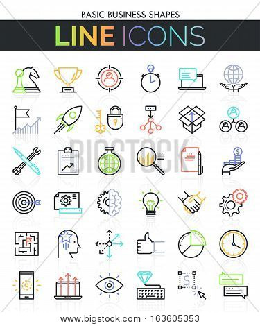 Business thin line icon set: project management, strategy planning, successful company development, global cooperation. Vector illustration in thin line style for website, web graphics, presentations.