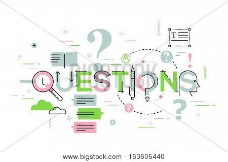 Thin line design concept for questions website banner. Vector illustration concept for frequently asked questions or questions and answers, client or customer support, product and service information.