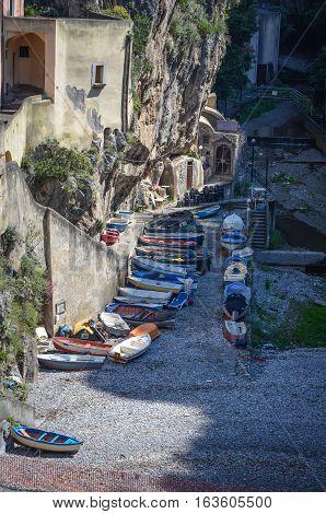 Furore, a fishing village on the Amalfi Coast, at low tide