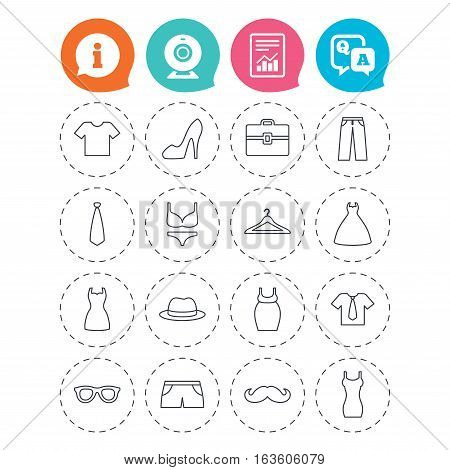 Clothes and accessories icons. Shirt with tie, pants and woman dress symbols. Hat, hanger and glasses thin outline signs. Underwear and maternity clothes. Information, question and answer icons
