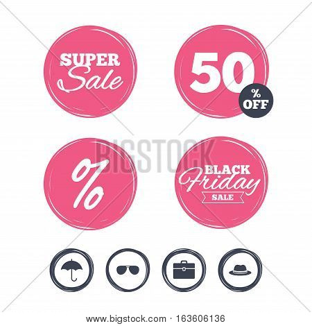 Super sale and black friday stickers. Clothing accessories icons. Umbrella and sunglasses signs. Headdress hat with business case symbols. Shopping labels. Vector