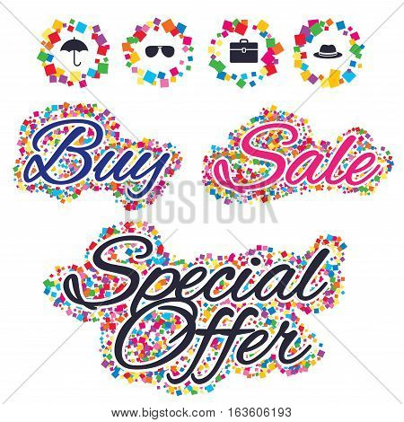 Sale confetti labels and banners. Clothing accessories icons. Umbrella and sunglasses signs. Headdress hat with business case symbols. Special offer sticker. Vector