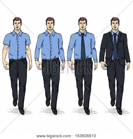 Vector Set Of Sketch Men Models. Business Dress Code