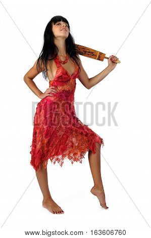 portrait of attractive smiling woman in red with umbrella. Isolated at white background