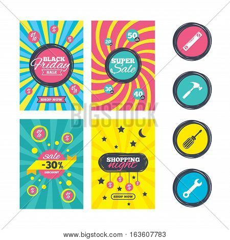 Sale website banner templates. Screwdriver and wrench key tool icons. Bubble level and hammer sign symbols. Ads promotional material. Vector