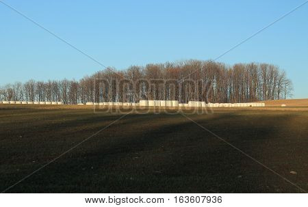landscape with ploughed field in the shadows, packs of hey and bare forest in autumn